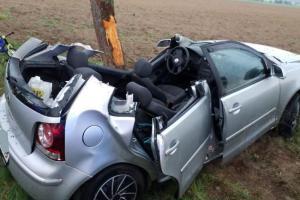 Hasiči řidiče z auta vystříhali. Dojel ke stromu, který mu z cesty neuhnul