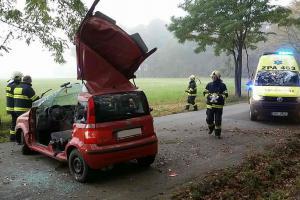 Řidiče museli z auta hasiči vyprostit. Narazil hned do dvou stromů