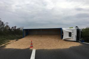 Obilí kamion nedovezl, ale po převrácení vysypal na dálnici