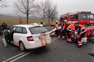 Nehoda na Olomoucku v počtu třech vozidel a čtyř zraněných