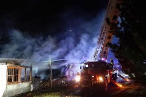 Požár boudy na střelnici v Hrobčicích