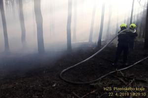 Dva dny bitvy s rozsáhlým lesním požárem u Chotíkova. Pomáhal i dron